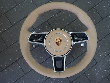 Porsche Beige Leather Steering Wheel (2011-2020)