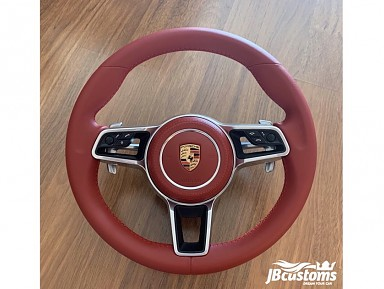 Porsche Bordeaux Red Leather Steering Wheel (2011-2020)