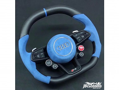 Audi R8 Carbon Fiber Matte/Blue Alcantara Steering Wheel